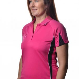 Hunter-Ladies-Polo-Pnk-Black-52304